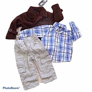 Only Kids brown peacoat, khakis & shirt outfit